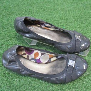 Coach Dwyer Patent Crinkled Leather Gray Flats 9